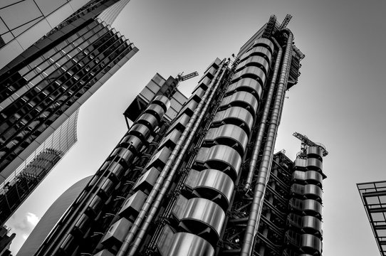 Black and white image of London's skyscrapers