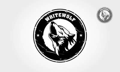 Silhouette of wolf logo template. Vector logo illustration.