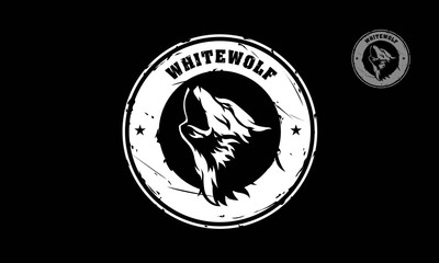Silhouette of wolf logo template. Vector logo illustration on black background.