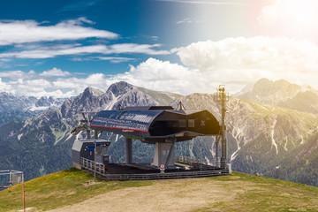 Air tram station in the Italian Alps Kronplatz or Plan de Corones