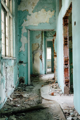 Corridor in an abandoned hospital