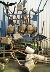 Exhausts at a junk yard