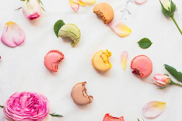 colourful macarons with bites taken out