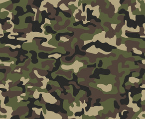 Abstract military or hunting camouflage background. Seamless woo