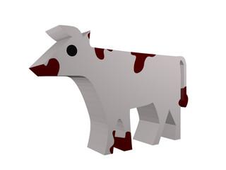 Kuh im Holzfiguren-Stil
