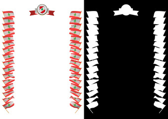 Frame and Border with flag and coat of arms Lebanon. 3d illustration