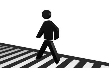 Fußgängermännchen überquert einen Zebrastreifen