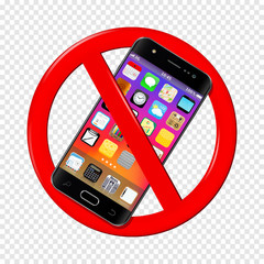 No cell phone sign isolated on transparent background
