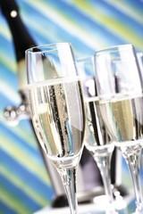 Several champagne glasses