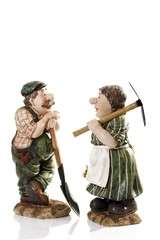 Decorative farmer and his wife figures
