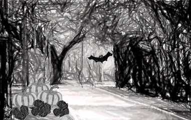 Drawing Halloween wallpaper (Pumpkins and a bat  in the forest)