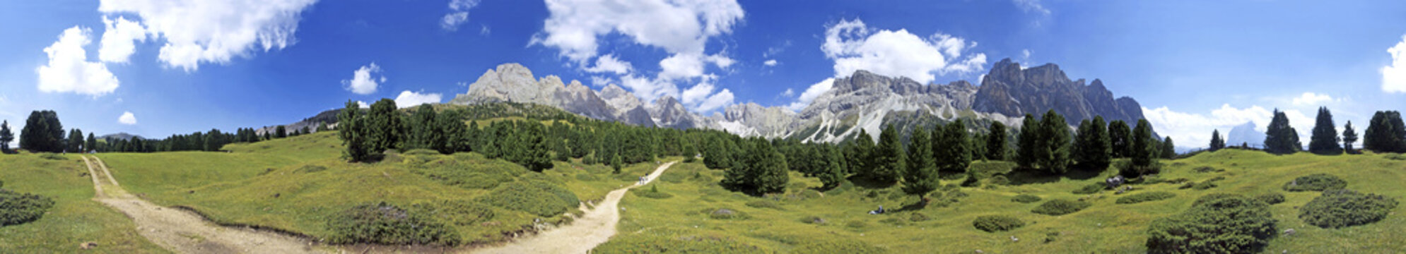 360 panorama Seceda, Gherdeina Valley, Italy, Europe