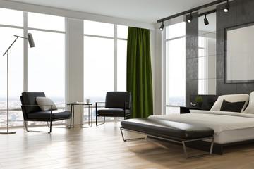 Gray bedroom interior, poster, corner