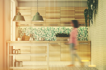 Green mosaic kitchen, wooden consoles toned