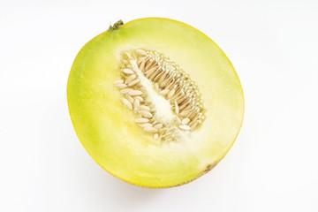 Galia Melon half (Cucumis melo)