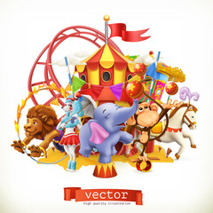 Circus, funny animals. Elephant, monkey, lion, horse. 3d vector