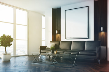 White and wooden living room, sofa, poster toned