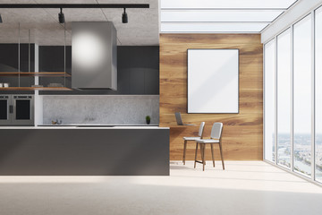 Black kitchen counter, wood and concrete, poster