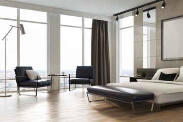 Light gray bedroom interior, poster, corner