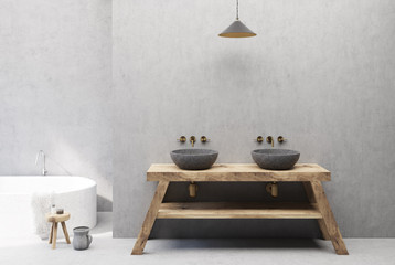 Concrete and wooden bathroom interior, double sink