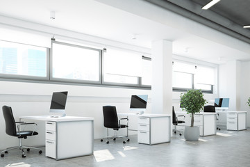 Open space office, a tree, white walls