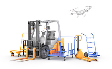 Wall Mural - Warehouse transport. Forklift, manual forklift, hand trolley, drone. 3d illustration
