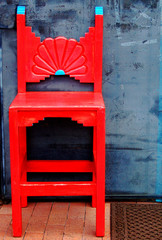 Red southwestern wooden chair