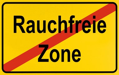End of town sign, symbolic image for the end of No Smoking zones, Rauchfreie Zone
