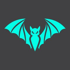 Bat glyph icon, halloween and scary, animal sign