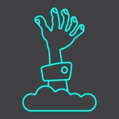 Zombie hand line icon, halloween and scary