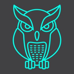 Owl line icon, halloween and scary, animal sign