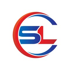 sl logo vector modern initial swoosh circle blue and red