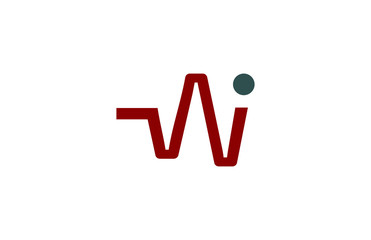 w letter red pulse logo