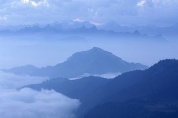 Panorama of the alps viewed from the Rigi, Switzerland, Europe
