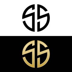 ss initial logo circle shape vector black and gold