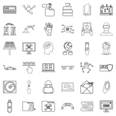 Flash drive icons set, outline style