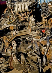 Car parts at a scrapyard