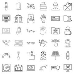 Cyber icons set, outline style