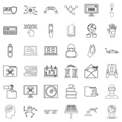 File icons set, outline style