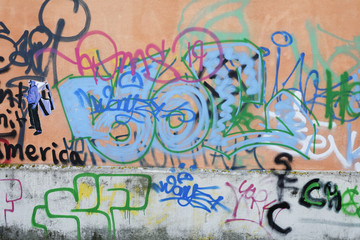 Graffiti, Regensburg, Upper Palatinate, Bavaria, Germany, Europe