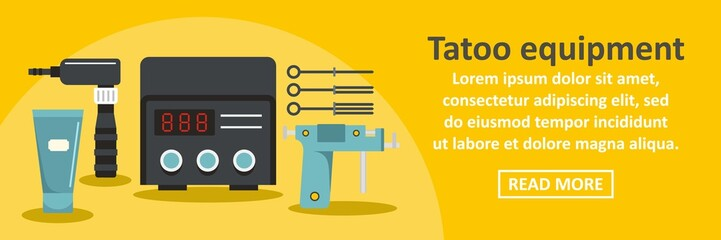 Tattoo equipment banner horizontal concept