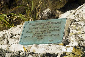 Memorial in Pickersgill Harbour where Captain James Cook moored in 1773, Fjordland National Park, South Island, New Zealand, Oceania