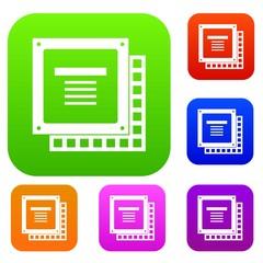 Computer CPU processor chip set color collection