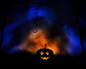 Fototapete - Halloween background with pumpkin on night sky background