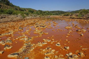Zinc blende colouring the water of the Ivi river, Sardinia, Italy, Europe