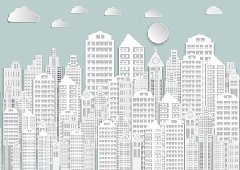 Paper art of white city with sky and Clouds.vector illustration background