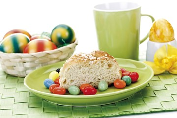 Easter table setting with Hefekranz, German pastry