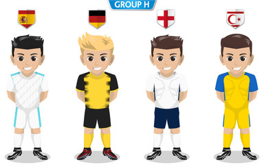 Vector Character of Football / Soccer Team for European Championship Group H