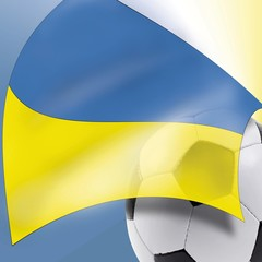 Football and Ukrainian flag