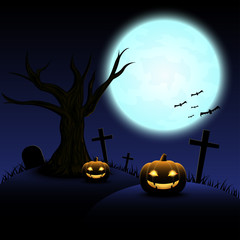 Halloween night with blue Moon and pumpkins, illustration.
